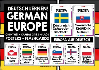 GERMAN - 60 EUROPEAN COUNTRIES, CAPTIALS, FLAGS POSTERS -
