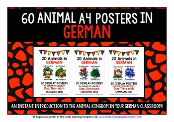 GERMAN ANIMALS - 60 POSTERS / FLASHCARDS PACK