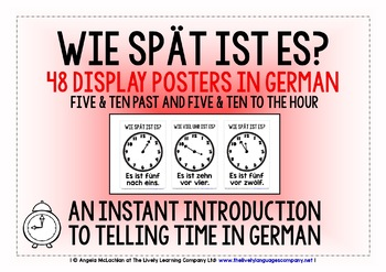 GERMAN TELLING TIME (2) - 48 POSTERS PACK - 5 & 10 PAST AN