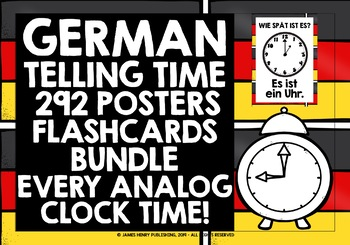 GERMAN TELLING TIME 146 POSTERS PACK - EVERY ANALOG CLOCK TIME!