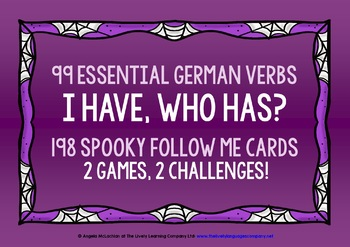 GERMAN VERBS (1) - HALLOWEEN I HAVE, WHO HAS? 2 GAMES, 2 C