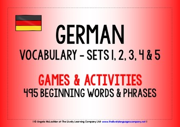 GERMAN VOCABULARY SETS 1,2,3,4 & 5 - GAMES & ACTIVITIES
