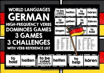 GERMAN VERBS (1) - 3 DIFFERENTIATED DOMINOES GAMES