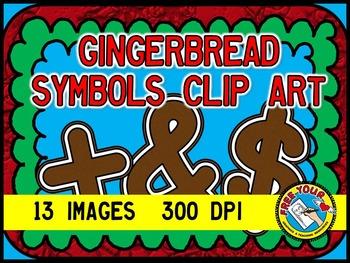 GINGERBREAD CLIP ART - GINGERBREAD SYMBOLS + - ÷ × < > , .