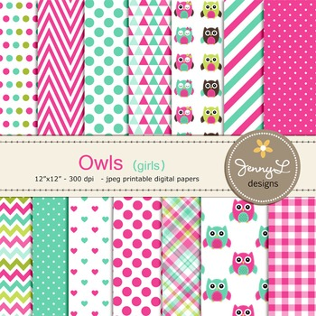 GIRL Owl Digital Papers, Baby Girl Owl, Hot Pink and Turquoise