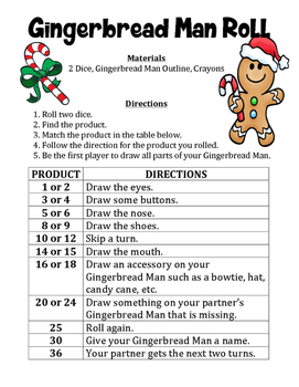 Gingerbread Man Product Roll - A Christmas Math Activity t