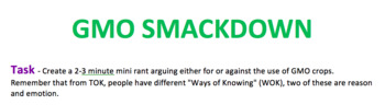 GMO Smackdown (Biology and TOK)
