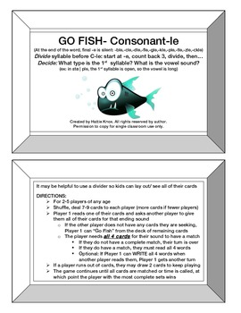 Go Fish: Consonant-le Card Game- Orton Gillingham Phonics/