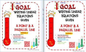 GOAL -Equation in Slope-Int & Stand Form: Pt & Parallel Li
