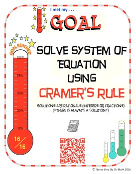 GOAL NO PREP - Solve System of equation using Cramer's Rul