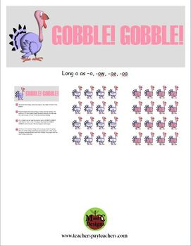 GOBBLE! GOBBLE! Thanksgiving Phonics Game Activity Long o