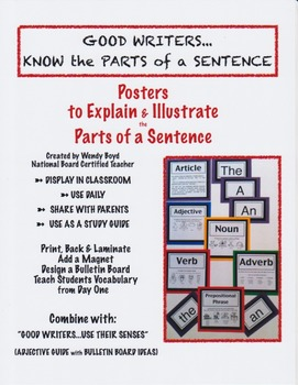 GOOD WRITER: KNOW PARTS OF A SENTENCE