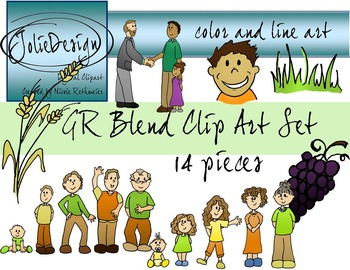 GR Blend Phonics Clip Art Set - Color and Line Art 14 pc set