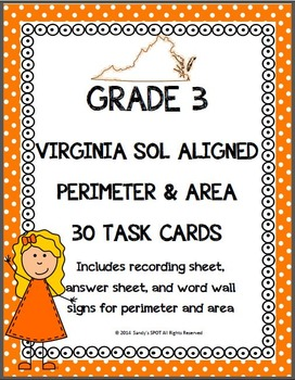 GRADE 3 VIRGINIA SOL MATH PERIMETER AND AREA TASK CARDS
