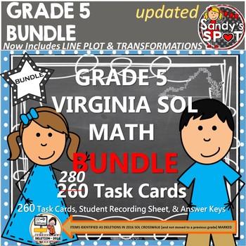 GRADE 5 BUNDLE REVISED VIRGINIA SOL MATH TASK CARDS TEST PREP