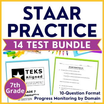 7th Grade Math STAAR Test Practice Bundle {14 Assessments