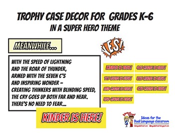 GRADE LEVEL DECOR FOR SCHOOL TROPHY CASE SUPER HERO THEME