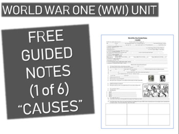 GRAPHIC ORGANIZER FOR WORLD WAR ONE (WWI) PPT (PART 1 CAUSES)