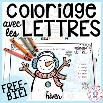 GRATUIT! Free FRENCH Winter colour by letter sheets