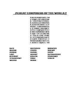 GREAT COMPOSERS OF THE WORLD WORD SEARCH