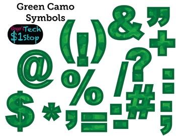 GREEN CAMO * Bulletin Board Letters * Symbols * Punctuatio