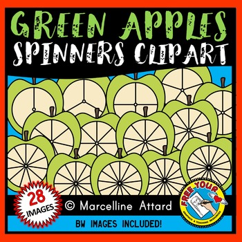 GREEN APPLE SPINNERS CLIPART: BACK TO SCHOOL CLIPART