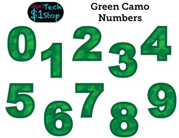 GREEN CAMO * Numbers * Bulletin Board * Memorial Day * Ind