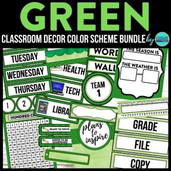 GREEN CHEVRON Classroom Decor - EDITABLE Clutter-Free Clas