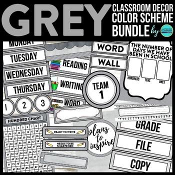 GREY CHEVRON Classroom Decor - EDITABLE Clutter-Free Class