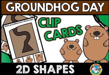 GROUNDHOG DAY SHAPES CLIP CARDS (GROUNDHOG DAY KINDERGARTE