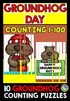 GROUNDHOG DAY COUNTING PUZZLES (NUMBERS 1 TO 100 CENTER)