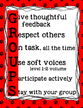 GROUPS poster for small group and partner work behavior ma