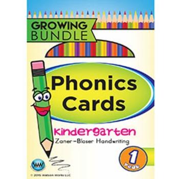 Kindergarten Phonics Cards & Alphabet Cards Zaner-Bloser ~ 1 Year
