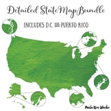 US State Map and Flash Card Bundle