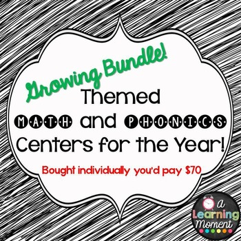 GROWING BUNDLE: Themed Math and Phonics Centers for the Year!