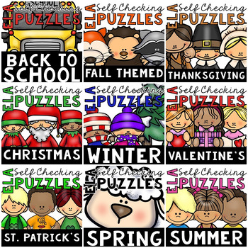 GROWING BUNDLE of Seasonal Self-Checking ELA Puzzles