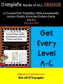 Bundle of Orange LLI Anchors, Skills Assessments,Lesson Pl