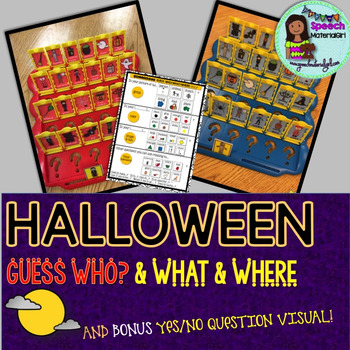 GUESS WHO? HALLOWEEN game inserts with YES/NO QUESTION VIS