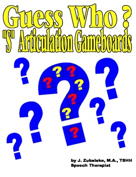 "GUESS WHO? ""S""  PICTURE ARTICULATION GAME BOARD INSERTS- S"