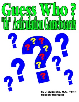 GUESS WHO? /TH/ PICTURE ARTICULATION GAME BOARD INSERTS- S