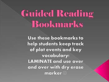 GUIDED READING BOOKMARK - CHAPTER BY CHAPTER SUMMARY