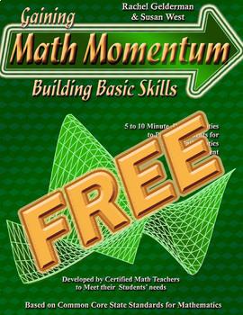 Gaining Math Momentum WarmUps - FREE!!
