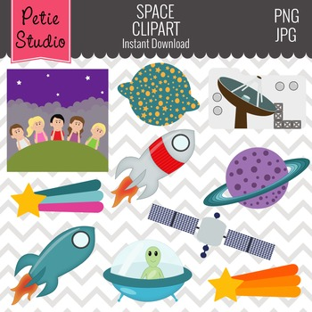 Galaxy Exploration Spaceship with Alien and Saturn Clipart