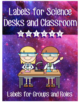 Galaxy Themed Desk Labels for Science Labs or Group Work