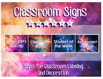 Galaxy Themed General Classroom Signs