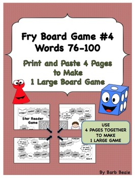 Game 4 - Fry Words 76-100 Star Reader Game - 5 pages