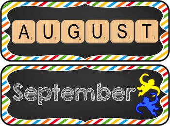Game Board Themed Calendar Set