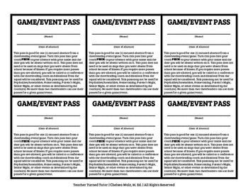Game Passes and Practice Passes