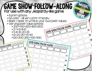 Game Show Student Follow Along Answer Sheet Template (Jeop