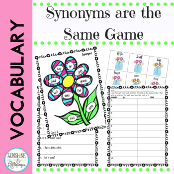 Game: Vocabulary Word Work: Synonyms are the Same First Grade